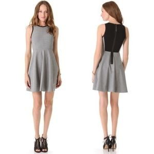 Rebecca Taylor Wool Leather Fit & Flare Gray Dress